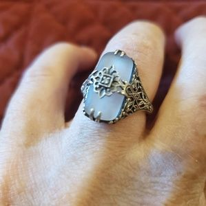 Vintage Jewelry - 🛑SOLD🛑Vintage Sterling Silver Camphor Glass Ring
